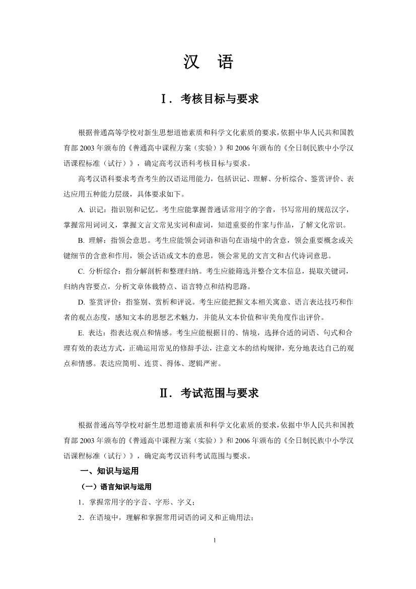 2019年上海高考汉语考试大纲公布