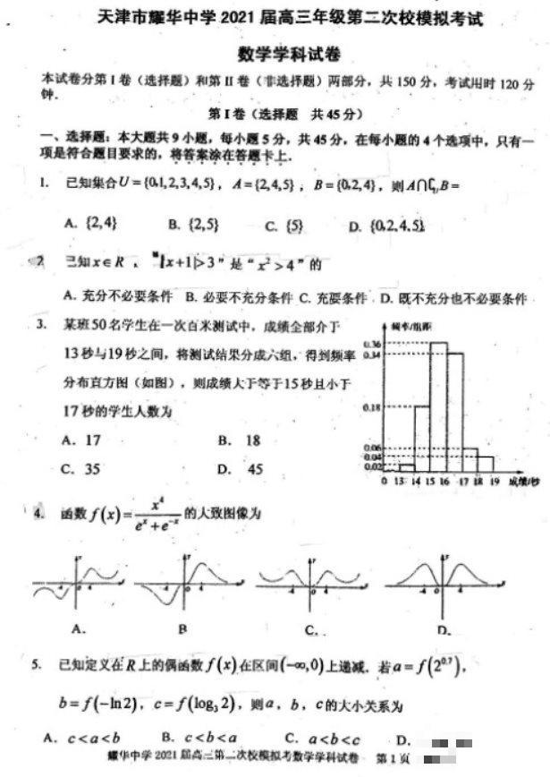 2021天津高考数学模拟试卷(图片版)